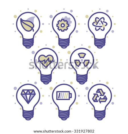 Lightbulb energy concept icons for web and mobile. Modern minimalistic flat design elements of energy saving, power concept, green technology - stock vector