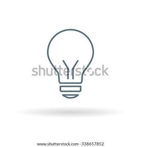 Lightbulb icon. Halogen symbol. Thin line sign on white background. Vector illustration. - stock vector