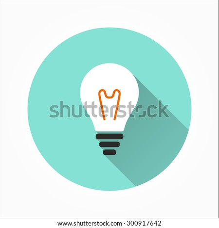 Lightbulb  - icon with long shadow, flat design. Vector illustration - stock vector