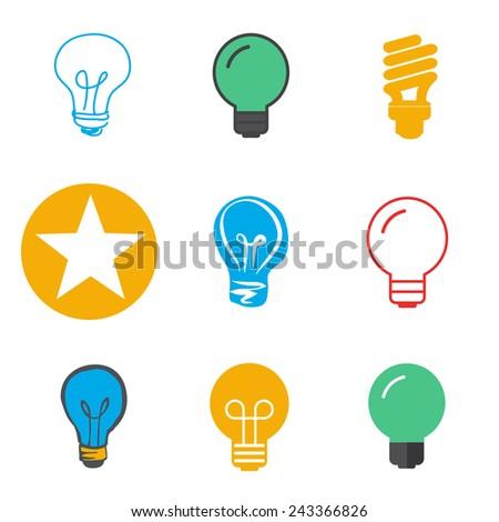 Lightbulb Ideas Creativity Development Icon Symbol Vector Concept - stock vector