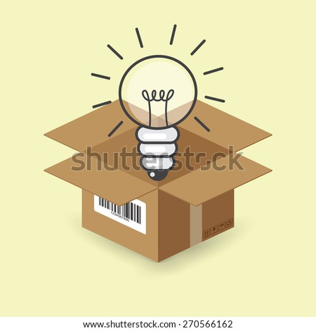 lightbulb in the paper box, vector - stock vector