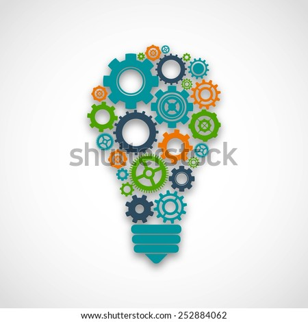 Lightbulb made of colored cog wheels abstract teamwork mind cooperation concept vector illustration - stock vector