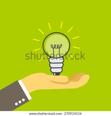lightbulb on the palm, illustration - stock vector