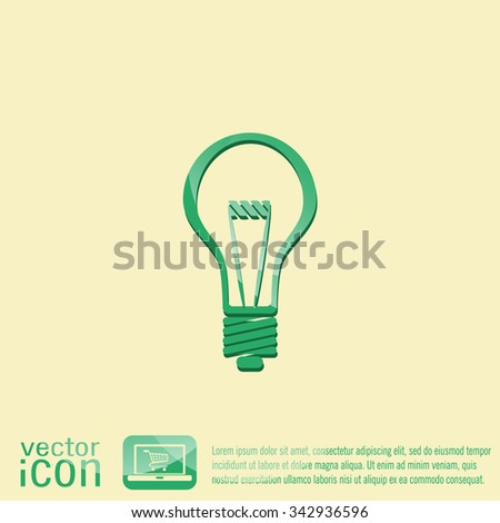 lightbulb sign. character ideas. incandescent lamp . icon of electric light