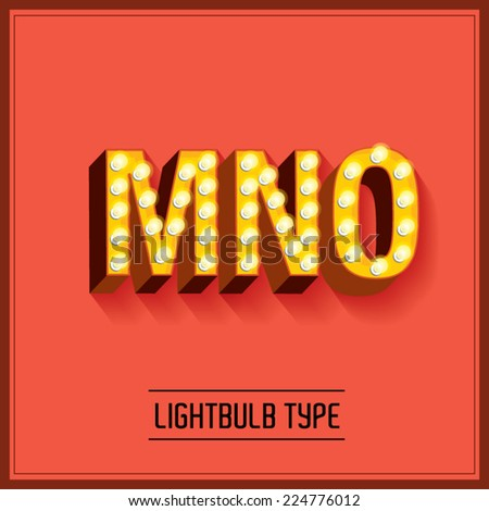 lightbulb typeface/font vector/illustration m,n,o - stock vector