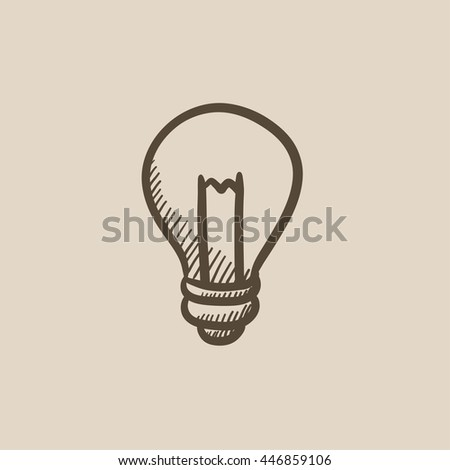 Lightbulb vector sketch icon isolated on background. Hand drawn Lightbulb icon. Lightbulb sketch icon for infographic, website or app. - stock vector