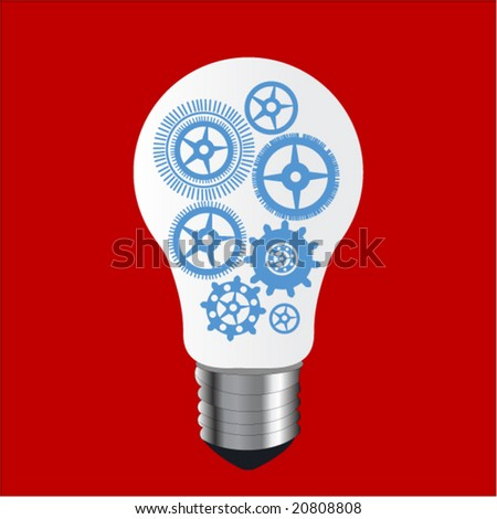 lightbulb with gears - stock vector