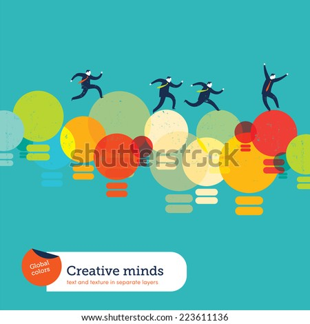 Lightbulbs Bridge. Vector illustration Eps10 file. Global colors. Text and Texture in separate layers. - stock vector