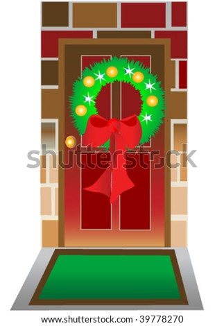 Lighted Christmas wreath on front door