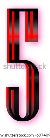 lighted five - stock vector