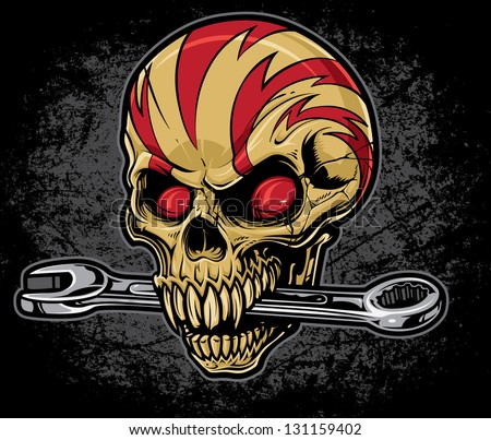 Lightening skull with a wrench in his mouth on a heavily textured grunge background. Top of skull is wrapped with lightening bolt graphics.