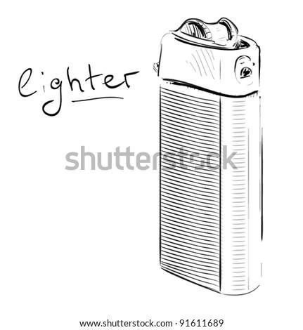 White Lighter Drawing Lighter Cartoon Sketch Vector
