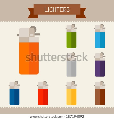Lighters colored templates for your design in flat style. - stock vector