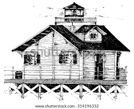 lighthouse above water house bay simple architectural drawing