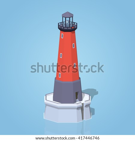 Lighthouse against the blue background. 3D lowpoly isometric vector illustration - stock vector