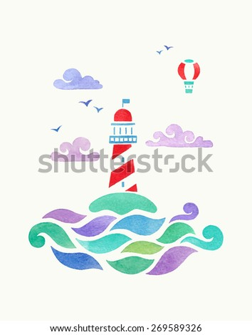 lighthouse and aerostat. watercolor illustration - stock vector