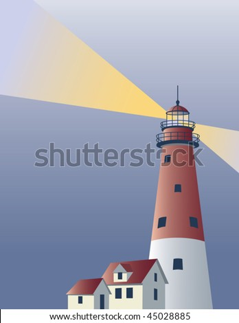Lighthouse background with area for text. - stock vector