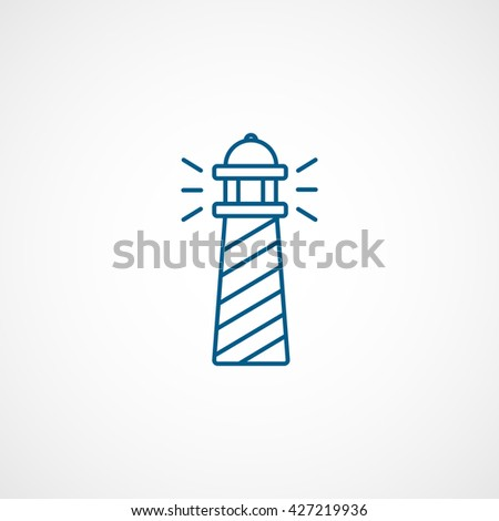 Lighthouse Blue Icon On White Background - stock vector