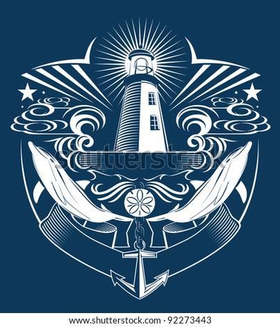 Lighthouse Crest - stock vector