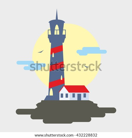 Lighthouse flat vector illustration. Lighthouse Icon Picture. Icon art with light house on white background. - stock vector
