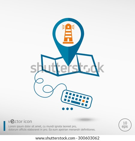 Lighthouse icon and pin on the map. Line icons for application development, creative process.  - stock vector