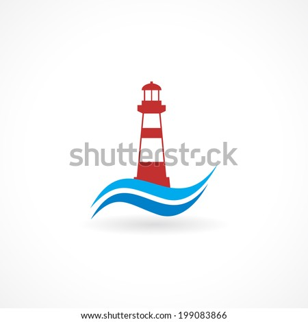 lighthouse icon design silhouette in vector format - stock vector