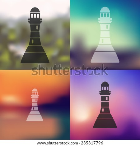 lighthouse icon on blurred background - stock vector