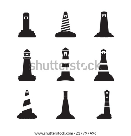 Lighthouse icons set - stock vector