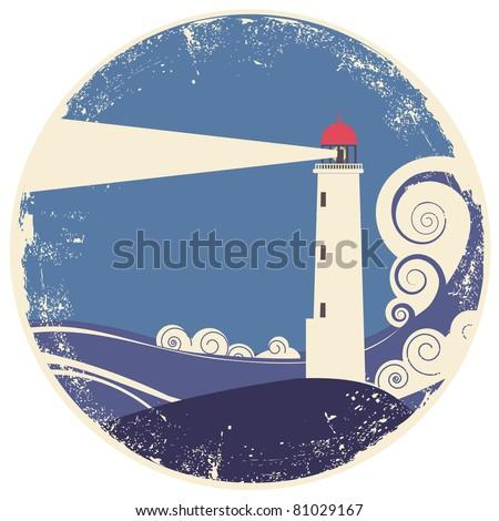 lighthouse in sea landscape.Vector vintage illustration on old paper - stock vector