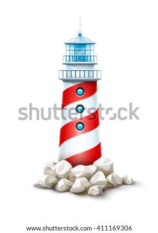 Lighthouse isolated tower, stone rocks hill vector illustration. Beacon on seashore island, icon - stock vector