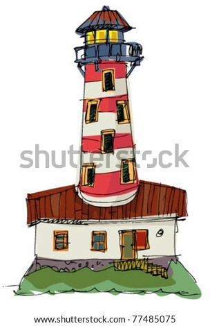 Lighthouse on a island - stock vector