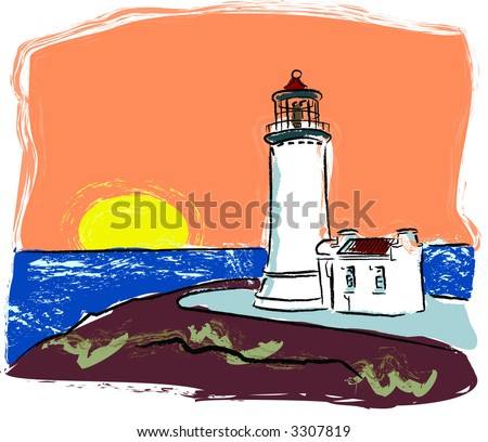 Lighthouse on cliff at coast with sun going down is feature din this vector illustration. - stock vector