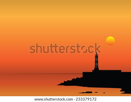 Lighthouse on the coast at sunset. Vector illustration. - stock vector