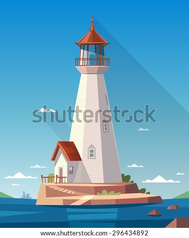 Lighthouse on the rock. Vector illustration. - stock vector