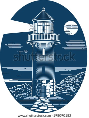 Lighthouse Oval - stock vector