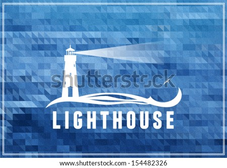 Lighthouse postcard, poster with deep ocean blue background - stock vector