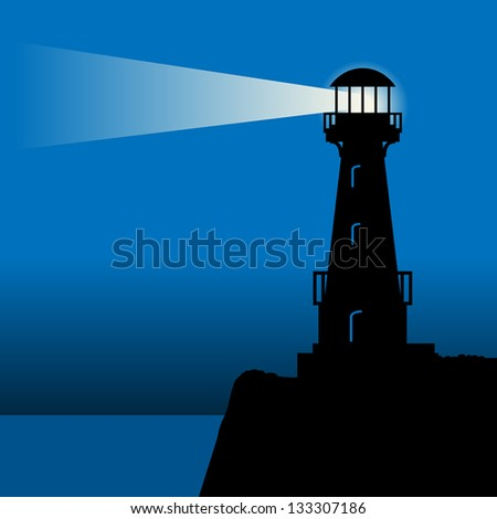 Lighthouse silhouette at night, vector illustration - stock vector