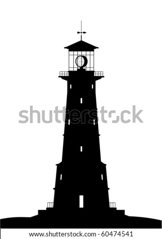 Lighthouse silhouette - black isolated on white (vector) - stock vector