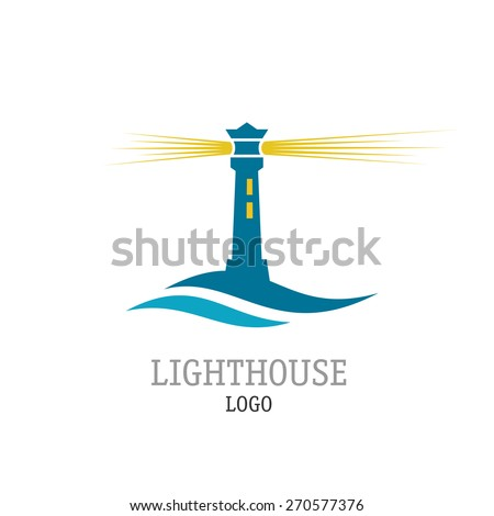 Lighthouse with waves simple logo - stock vector