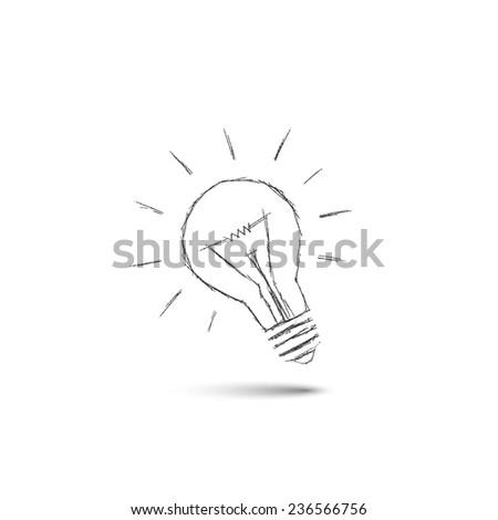 lighting bulb pencil drawing, idea concept - stock vector