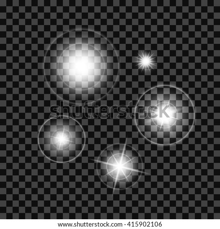 Lighting Effects of Flash. Glow White Elements. Vector Illustration. - stock vector