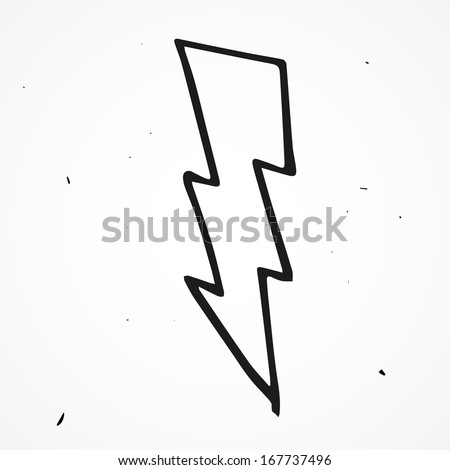 Lightning bolt hand drawn - stock vector