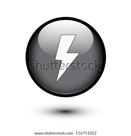 Lightning bolt icon on black button - stock vector