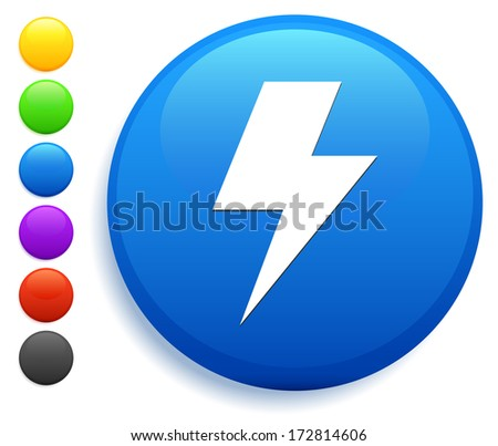 Lightning Bolt Icon on Round Button Collection - stock vector