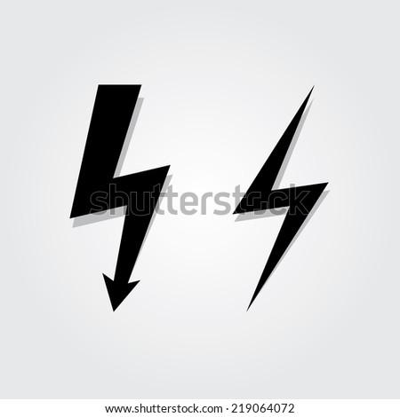 Lightning Bolt icon set - stock vector