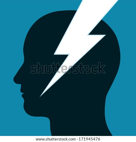 Lightning bolt or electrical power icon t through the silhouette in profile of a mans head depicting inspiration, innovation and intelligence - stock vector