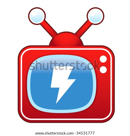 Lightning bolt or electricity icon on retro television set - stock vector