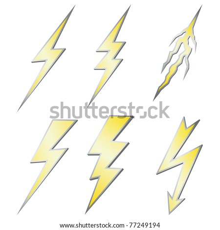 Lightning bolt set isolated on white - stock vector