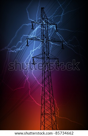 Lightning flash strike in high voltage line vector background - stock vector