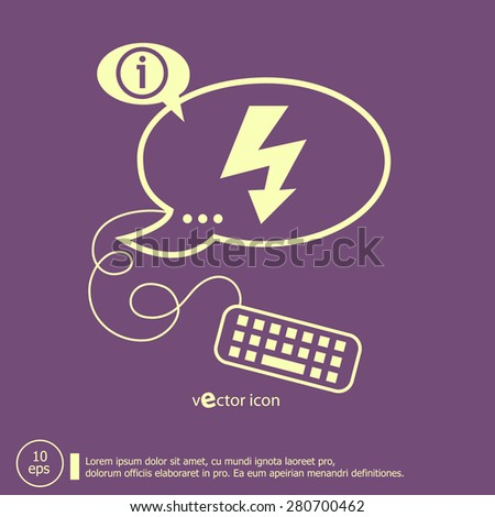Lightning icon and keyboard design elements. Line icons for application development, web page coding and programming, creative process - stock vector